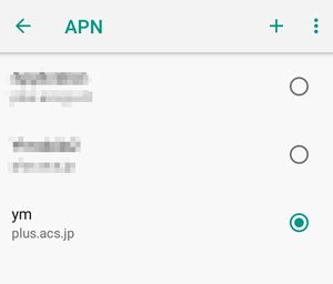APN名有効確認画面