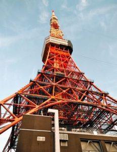 東京タワーを下から見上げた風景